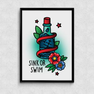 Shop Print Bild Ad Infintium Tattoo Studio Bochum Ehrenfeld Sink or Swim