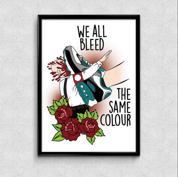 Shop Print Bild Ad Infintium Tattoo Studio Bochum Ehrenfeld We bleed the same colour