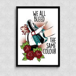 Shop Print Bild Ad Infintium Tattoo Studio Bochum Ehrenfeld We bleed the same colour